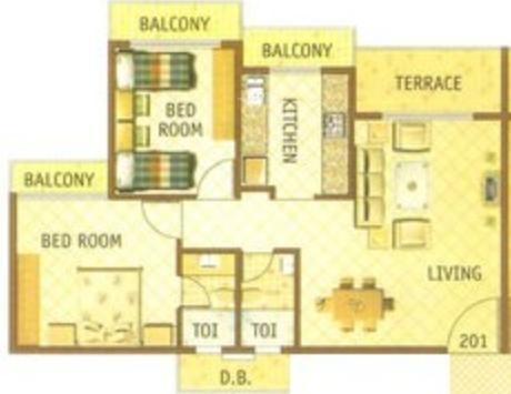 Giriraj Oscar (2BHK+2T (1,155 sq ft) Apartment 1155 sq ft)