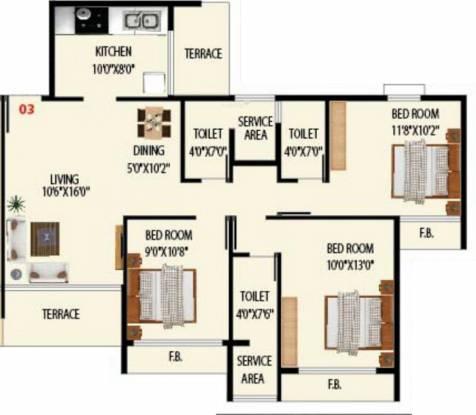 Today Grande Vista (3BHK+3T (1,500 sq ft) Apartment 1500 sq ft)