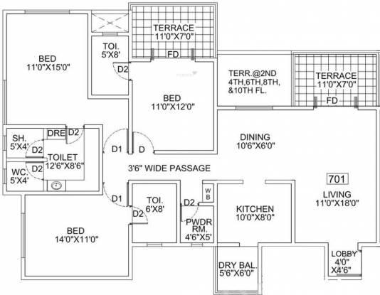 Goel Ganga Bhagyoday (3BHK+3T (1,650 sq ft) Apartment 1650 sq ft)