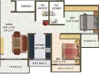 Meena Meena Residency (2BHK+2T (1,196 sq ft) Apartment 1196 sq ft)