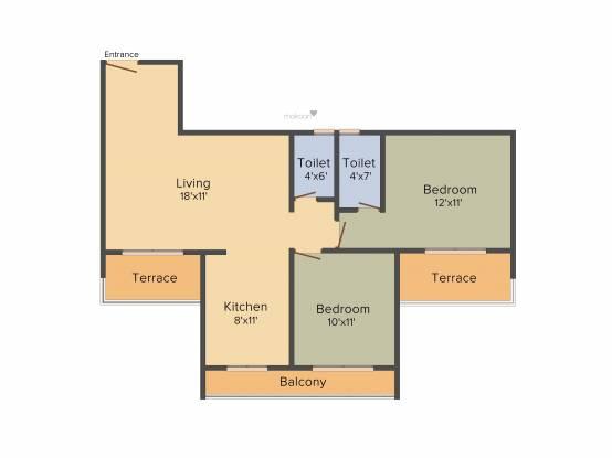 Aaron Kasturi Heritage (2BHK+2T (1,155 sq ft) Apartment 1155 sq ft)