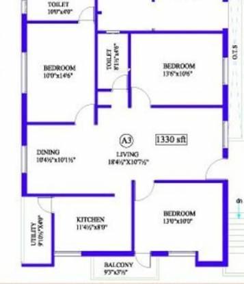 Antony Creek (3BHK+2T (1,330 sq ft) Apartment 1330 sq ft)