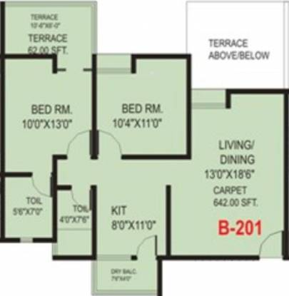 Vastushree Adrina (2BHK+2T (897 sq ft) Apartment 897 sq ft)