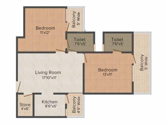 MR Platinum 321 (2BHK+2T (1,170 sq ft) Apartment 1170 sq ft)