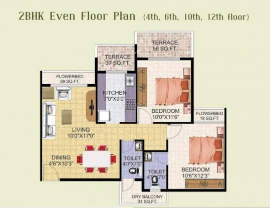 Shree Balaji Om Harmony (2BHK+2T (1,179 sq ft) Apartment 1179 sq ft)