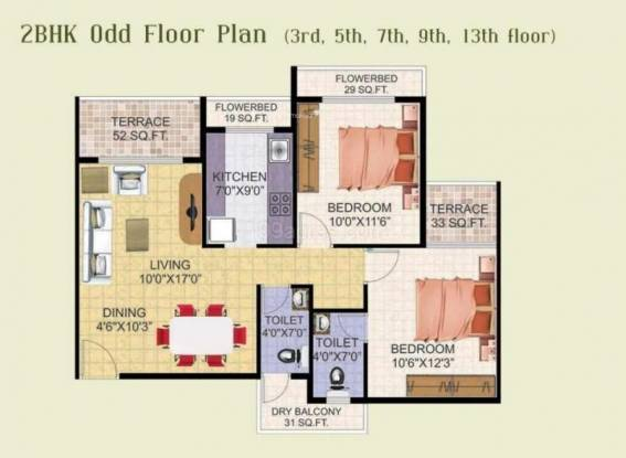 Shree Balaji Om Harmony (2BHK+2T (1,188 sq ft) Apartment 1188 sq ft)