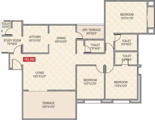 Elite Astrum (3BHK+4T (1,885 sq ft)   Study Room Apartment 1885 sq ft)