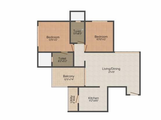 ABIL Imperial (2BHK+2T (1,255 sq ft) Apartment 1255 sq ft)