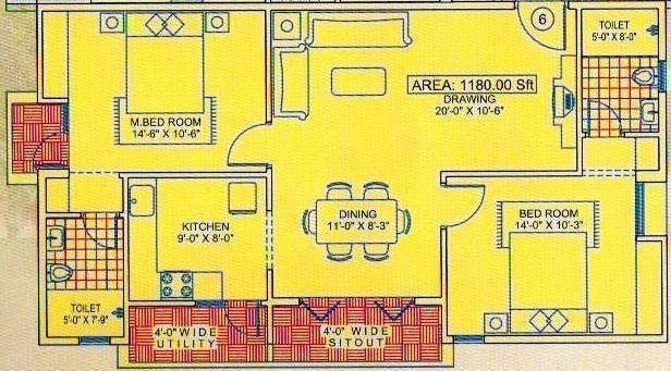 Citadil Ashwini Homes (2BHK+2T (1,180 sq ft) Apartment 1180 sq ft)