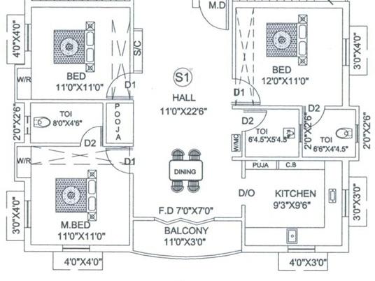 Guru Galaxy Apartments (3BHK+3T (1,310 sq ft)   Pooja Room Apartment 1310 sq ft)