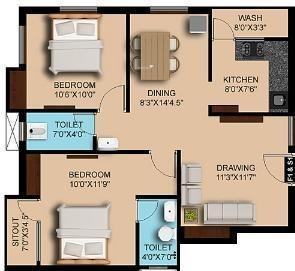 Sumangali Grande Rio (2BHK+2T (988 sq ft) Apartment 988 sq ft)