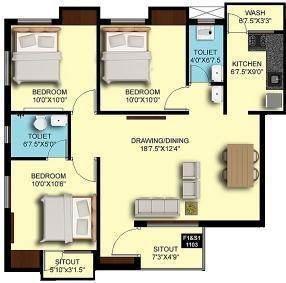 Sumangali Grande Rio (3BHK+2T (1,126 sq ft) Apartment 1126 sq ft)