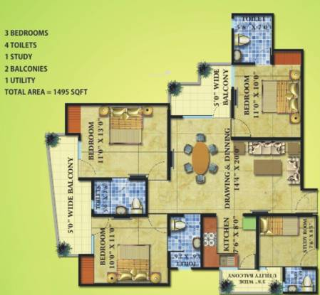 Radicon Vedantam (3BHK+4T (1,495 sq ft) + Study Room Apartment 1495 sq ft)