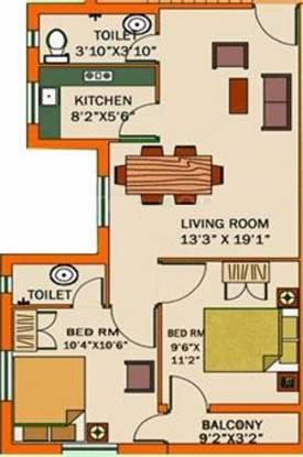 Deeshari Estate (2BHK+2T (925 sq ft) Apartment 925 sq ft)