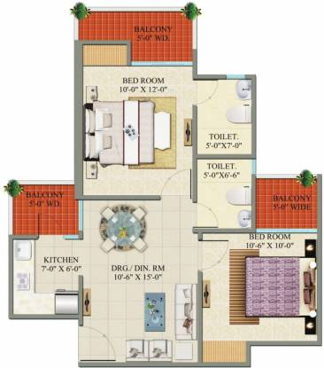 Charms Castle (2BHK+2T (850 sq ft) Apartment 850 sq ft)