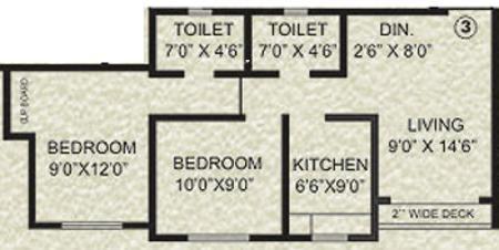 Agarwal Krish Garden (2BHK+2T (810 sq ft) Apartment 810 sq ft)