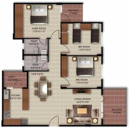 NR Springwoods (3BHK+2T (1,571 sq ft) Apartment 1571 sq ft)