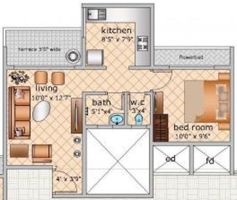 RS Residency (1BHK+1T (656 sq ft) Apartment 656 sq ft)