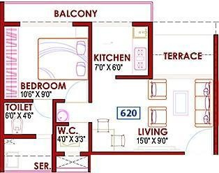 GHP Casa (1BHK+1T (620 sq ft) Apartment 620 sq ft)