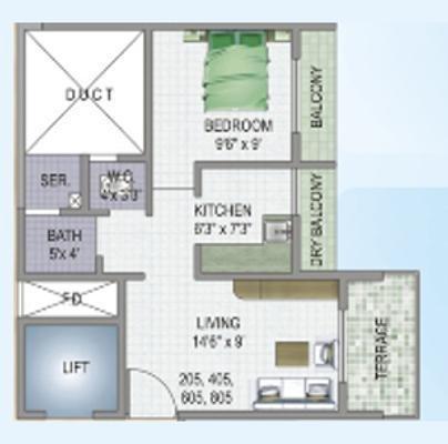 MK Vakratunda (1BHK+1T (417 sq ft) Apartment 417 sq ft)