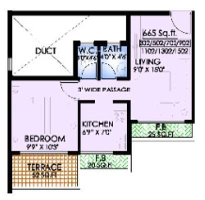 MK Dev Heights (1BHK+1T (665 sq ft) Apartment 665 sq ft)