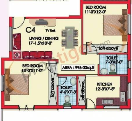 Engineers Westwood Residency Phase I (2BHK+2T (996 sq ft) Apartment 996 sq ft)