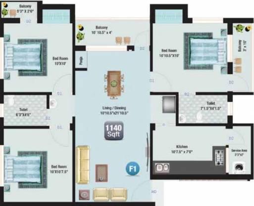 SM Akshaya (3BHK+2T (1,140 sq ft) Apartment 1140 sq ft)