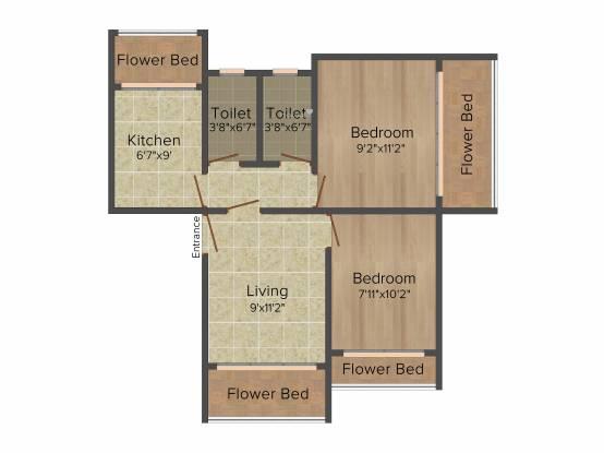 Eiffel Bhagyaratna (2BHK+2T (820 sq ft) Apartment 820 sq ft)