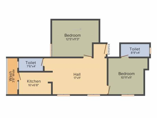 SM Meadow (2BHK+2T (961 sq ft) Apartment 961 sq ft)