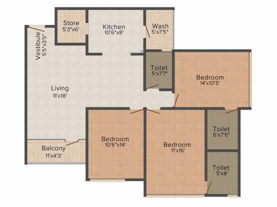 JP Platinum (3BHK+3T (1,985 sq ft) Apartment 1985 sq ft)