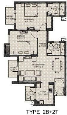Umang Summer Palms (2BHK+2T (1,248 sq ft) Apartment 1248 sq ft)
