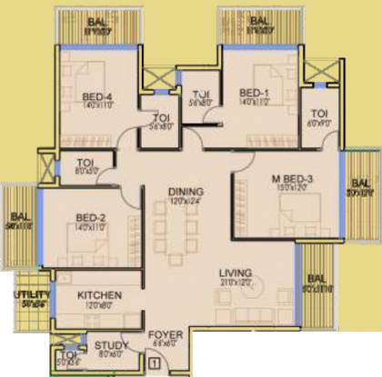 Dhoot Time Residency (4BHK+5T (2,212 sq ft)   Study Room Apartment 2212 sq ft)