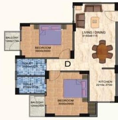 Shiv Vatika Apartments (2BHK+2T (1,075 sq ft) Apartment 1075 sq ft)