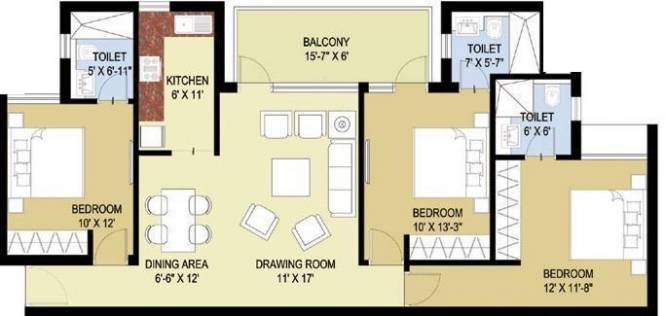 Puri Pratham (3BHK+3T (1,400 sq ft) Apartment 1400 sq ft)