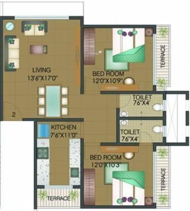 Shamiks Rupani Baugh (2BHK+2T (750 sq ft) Apartment 750 sq ft)