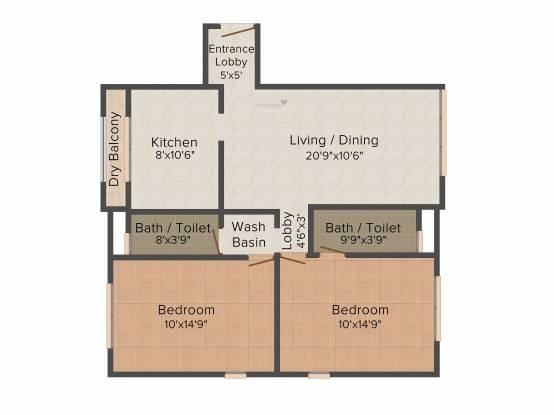 SD Ekta Suprabhat (2BHK+2T (1,150 sq ft) Apartment 1150 sq ft)