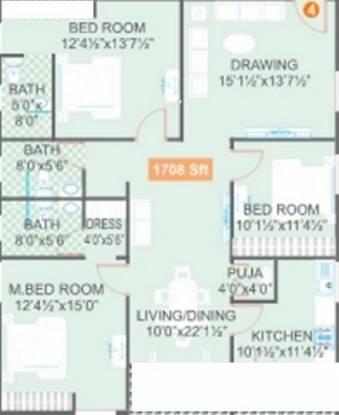 Legend Jagannath (3BHK+3T (1,708 sq ft)   Pooja Room Apartment 1708 sq ft)