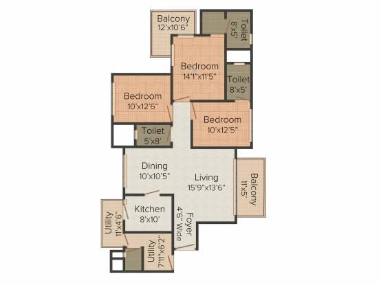 Alpha Gurgaon One 84 (3BHK+3T (1,923 sq ft) Apartment 1923 sq ft)