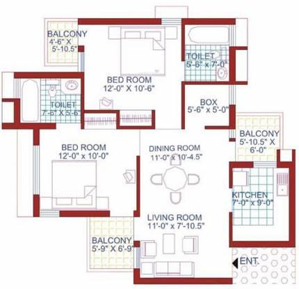 AWHO Sispal Vihar (2BHK+2T (1,107 sq ft) Apartment 1107 sq ft)