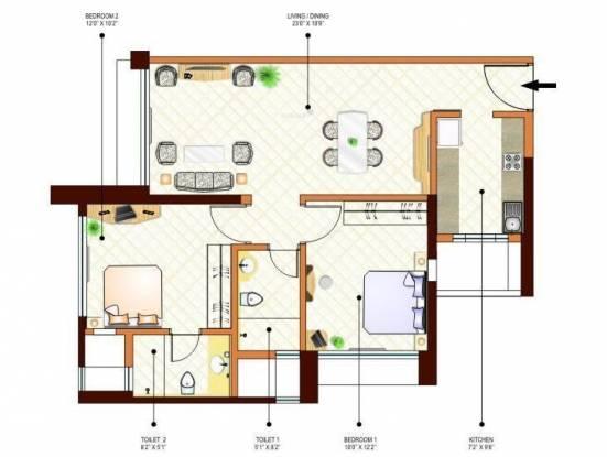 Peninsula Ashok Gardens (2BHK+2T (1,335 sq ft) Apartment 1335 sq ft)