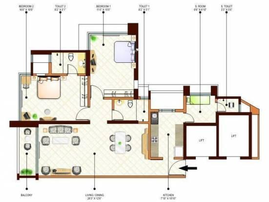Peninsula Ashok Gardens (2BHK+2T (1,405 sq ft)   Servant Room Apartment 1405 sq ft)