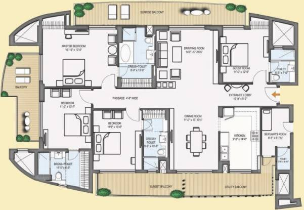 CHD Tee9 (4BHK+5T (3,127 sq ft)   Servant Room Apartment 3127 sq ft)