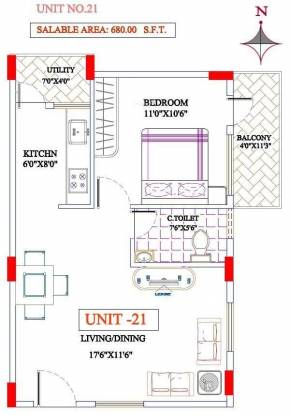 MBR Steeple (1BHK+1T (680 sq ft) Apartment 680 sq ft)