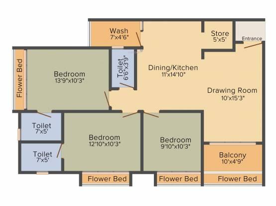 Acme Aditya Greens (3BHK+3T (1,710 sq ft) Apartment 1710 sq ft)