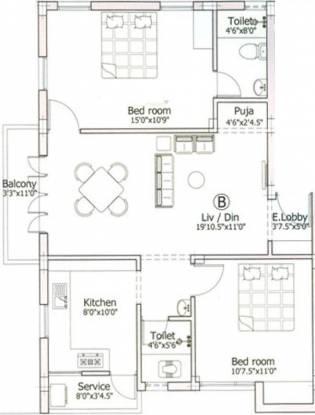 Pushkar Aishwaryam (2BHK+2T (680 sq ft)   Pooja Room Apartment 680 sq ft)