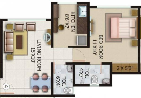 Kamya Pankil (1BHK+2T (660 sq ft) Apartment 660 sq ft)