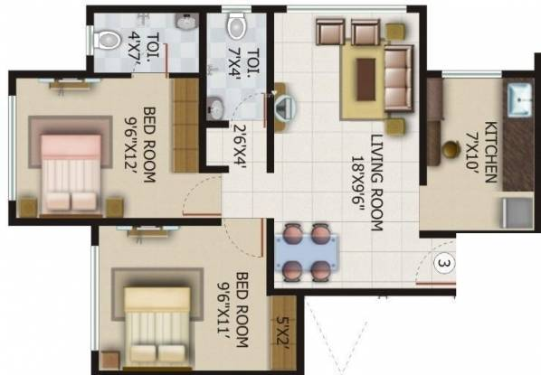 Kamya Pankil (2BHK+2T (940 sq ft) Apartment 940 sq ft)