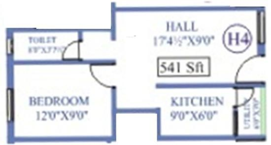 Antony Park Wood (1BHK+1T (541 sq ft) Apartment 541 sq ft)