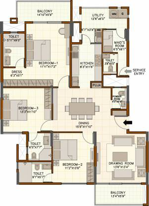 August Grand (3BHK+4T (2,257 sq ft) + Servant Room Apartment 2257 sq ft)