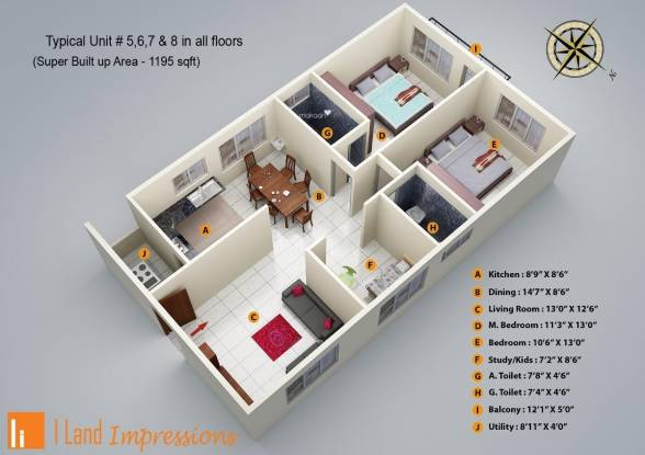 I Land Impressions (2BHK+2T (1,195 sq ft)   Study Room Apartment 1195 sq ft)